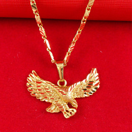 Wholesale Male Gold Pendants - Wholesale - 24K gold filled Jewelry Male Necklace Ambition big eagle pendant