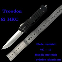 Wholesale Knife Hrc - troodon VG10 62 HRC high hardness outdoor camping spring model automatic knife Air way handle Free shippi
