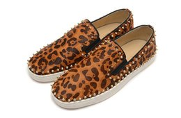 Wholesale Leopard Spike Shoes - Luxury Brand Red Bottom Sneakers Gold Suede with Spikes Casual Mens Womens Shoes Leopard Grain Two Ring Nails Trainers Footwear Flat Shoes