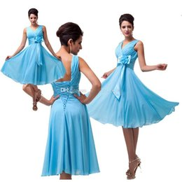 Wholesale One Shoulder Blue Chiffon Flower - 2015 in stock Sexy Tea Length Chiffon Prom Dresses with Hand Made Flower Rushed A Line V-Neck Sleeveless Lace Up Evening Gowns