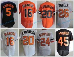 Wholesale Baseball Jersey Baltimore - Baltimore 5 Brooks Robinson 16 Trey Mancini 20 Frank Robinson 24 Rick Dempsey 26 Boog Powell 45 MARK TRUMBO Flexbase Jerseys Throwback Stit