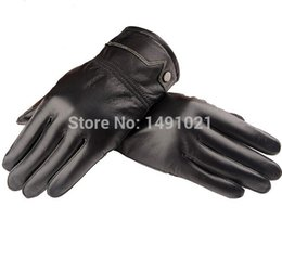 Wholesale Sheep Gloves - Wholesale-Hot Selling 2015 Fashion Sheep Thick Wool Warm Winter Genuine Leather Men's Finger Gloves Free Shipping P09
