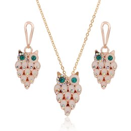 Wholesale Pink Mother Pearl Shell - Enamel Charms Jewelry Sets Rhinestone Korean Style Rose Gold Plated Necklace & earrings 3 Set  Lot Shell Cute Owl Shape Earring For Women