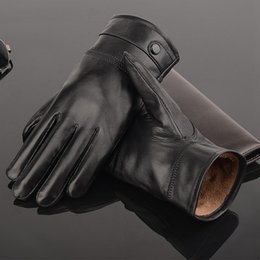 """Wholesale Thin Black Leather Gloves - """"2017 explosion black Skin glove for men's winter cold protection and warm sheepskin gloves with thick men's thin riding leather gloves"""