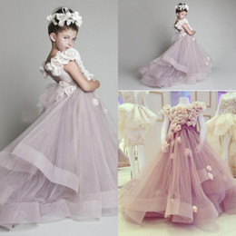 Wholesale Wedding Fairytale - 2016 Cheap Fairytale Flower Girls Dresses For Weddings Lavender Hand Made Flowers Sashes Tulle Party Princess Children Girl Pageant Gowns