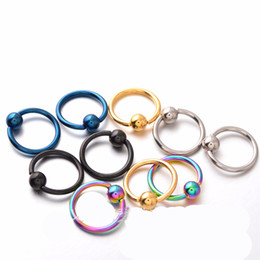 Wholesale Body Piercing Tragus - 50pcs Titanium Captive Hoop Bead Rings BCR Eyebrow Tragus Nose Nipple Ring Bar CBR Lips Body Piercing Jewelry