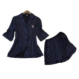 Wholesale Fine Items - Wholesale- new design silk cute & fine korean spring home wear high grade gifts items hot Turn down collar women's pajama set free shipping