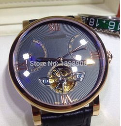 Wholesale Pin Marker - Luxury Watches CR017 Black Tourbillion Dial Rose Gold Roman Markers Rose Gold Case Black Leather Strap Automatic Men's Men's Wristwatches