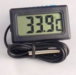 Wholesale Small Fish Tanks Wholesale - new 200pcs lot Mini small Mini Digital LCD Electronic Thermometer Combo Sensor Wired Aquarium Thermometer Fish Tank