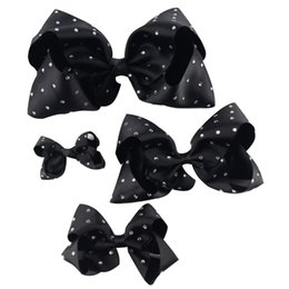 Wholesale Hair Clips Ribbon Diamond - 1 Set (4pcs )3'' 4'' 6'' 7'' Girl Rhinestone Grosgrain Ribbon Hairbow Hair Accessories With Alligator Clip Handmade Diamond Kids Hair Bow