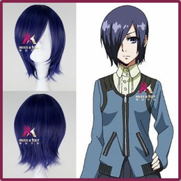 Wholesale Short Hairpiece Wig - New Tokyo Ghoul Kirishima Touka Wig Short Straight Synthetic Anime Cosplay Wig hair hairpiece Free Shipping