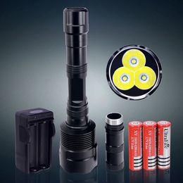 Argentina Para la venta - Brillante 3800 lumen 3T6 linterna LED CREE XM-L T6 antorcha incluyendo 18650 baterías y cargador Envío Gratis Suministro