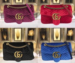 Wholesale Antique Leather Bags - 443496 31cm Marmont Medium Chevron Velvet Shoulder Bag AAAAA Qaulity Double G Antique gold-toned hardware Silk Lining with Dust Bag