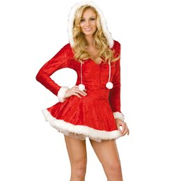 Wholesale santa costume adult - Sexy Lingerie Christmas Dress Sexy Underwear Hot Erotic Adult Deep V Hoodies Dress Red Mrs Santa Cosplay Costumes Santa Claus