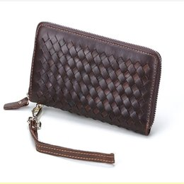 Wholesale Women Leather Pure Wallet - Clutch Bags Brand New Pure Hand Knitting Long Wallet Zipper Purse Dermis Bags All-match Multiple Carcasses Fashion Bags