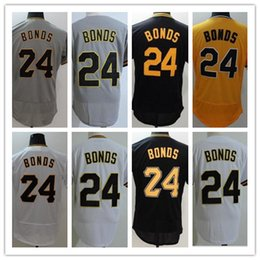 Wholesale Vintage Road - NEW Barry Bonds Pittsburgh Home Road Throwback Jersey Pullover White Black Grey Yellow Vintage 2017 24# Barry Bonds FLEXBASE Baseball Jersey
