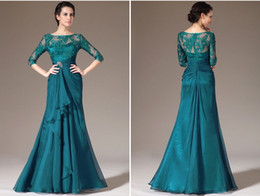 Wholesale Turquoise Drape Chiffon Dress - Elegant Turquoise Mother of the Bride Lace Dresses With 3 4 Long Sleeves Sheer Neck Plus Size Mother's Dress Formal Party Gowns