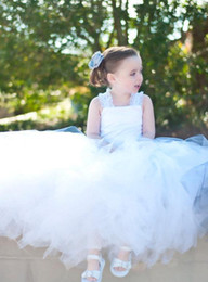 Wholesale Spaghetti Strap Flowergirl Dresses - White Toddler Ball Gown Tulle Flower Girl Dresses Criss-cross Back Lace Straps Ruffles Kid's Gowns for Wedding Fairy Pure Flowergirl Dresses