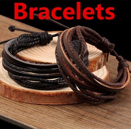 Wholesale Tribal Bracelets For Men - Retro Tribal Bracelets Leather Bracelet Multilayer Wrap Charm Genuine Leather Black Brown Braided Rope Wristbands For Men Women Charms