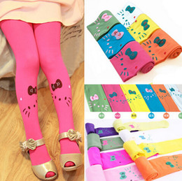 Wholesale Wholesale Patterned Leggings - New fashion baby girls leggings lovely candy color cat pattern leggings 20 p l free shipping