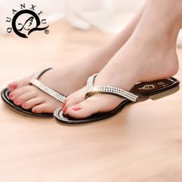 Wholesale Women S Sandals Slippers - Spring show women 's summer rhinestone sandals flip - flops toe sandals pu leather flat slippers