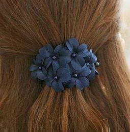 Wholesale South Korean Fashion - Hot Selling Classic Korean Fashion Daisy Floral Hair Accessories Cloth Flower Hair Clip Hairpin For Women DHF434