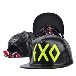 Wholesale Exo Caps - 2 Color Hip Hop EXO Letters Snapback Baseball PU Caps Unisex Sports Adjustable Bone Women Leather Hats Men gorras Caps Casual F346