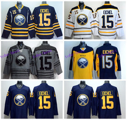 Wholesale 15 Yellow - Buffalo Sabres Jersey 15 Jack Eichel Ice Hockey Jerseys Throwback Home Navy Blue White Yellow Gray Jack Eichel Sabres Jerseys