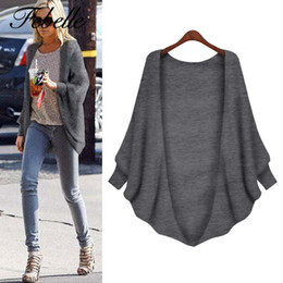 Wholesale ladies jumpers wholesale - Wholesale- Febelle Women Casual Cardigans Ladies Grey Black Batwing Sleeve Knitwear Outwear Spring Autumn Medium Long Jumpers #94339