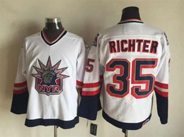 Wholesale Richter Rangers Jersey - Top Quality ! New York Rangers Ice Hockey Jerseys 35 Mike Richter 1998 Statue Of Liberty Throwback Vintage CCM Authentic Stitched Jerseys