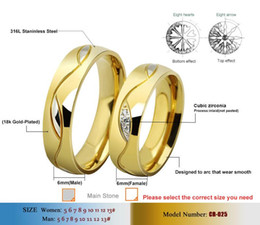 Wholesale Classic Gypsy - Never Fading 18k Gold plated simple Classic Wedding rings Titanium steel rings for men and women jewelry CZ Diamond Rings