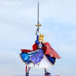 Wholesale Fate Saber Figure - Free Shipping Fate Stay Night Saber Action Figure Crown Saber Lily Doll PVC ACGN figure Garage Kit Toy Brinquedos Anime 18CM