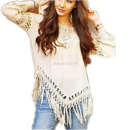 Wholesale ladies bikini boho - 3 color Boho beach crochet blouse ladies tops blusa casual Bikini Cover up Women Summer shirt tee tops women tassels blouse