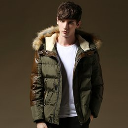 Wholesale Leather Coat Hood Men - New Thick Warm Winter Jacket Men Fur Hood Patchwork Leather Plus Size 3XL 4XL 5XL Brand Winter Coat Men Cotton Down Jackets