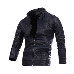 Wholesale Business Casual Clothes For Men - Fall-Autumn Winter Soft Leather Clothing Men Leather Jackets Imitation sheepskin Male Business casual Coats For Man Big Size PY037