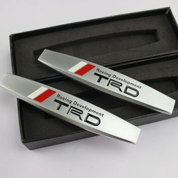 Wholesale Toyota Accessories Free Shipping - 2pcs lot Alloy TRD Car Fender Stickers Emblem Badge Accessories For Toyota RAV4 Camry Highlander Corolla Reiz Free shipping