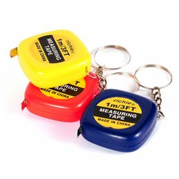 Wholesale Measure Rings - measure tapes Mini 1M Tape Measure keychain keychains Small Steel Ruler Portable Pulling Rulers With Key Chain rings Gauging Tools