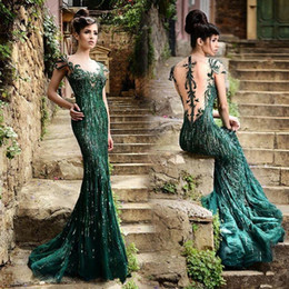Wholesale Elegant Woman Vintage Dress - 2015 Vintage Stunning Sequins Evening Dresses with Sheer Neck Green Appliques Cap Sleeve Long Mermaid Elegant Formal Prom Gowns For Women