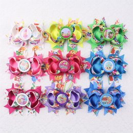 Wholesale Alligator Cap - Hot selling 9pcs 4in double layers Girl baby Popular American cartoon grosgrain ribbon Hair bows alligator clips with Bottle cap 2005B-1-9-Y