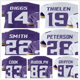 Wholesale Purple Football Jersey 28 - 2018 New 14 Stefon Diggs 19 Adam Thielen 22 Harrison Smith 28 Adrian Peterson 33 Dalvin Cook 82 Kyle Rudolph Everson Griffen Jersey