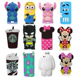 Wholesale Wholesale Silicone Wallets - New 3D Cute Cartoon Cases Soft Silicone Rubber phone Case For iPhone 7 5 6 6s plus Samsung Note7 S4 S5 S6 S7