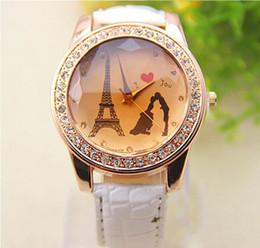 Wholesale Wrist Watch Made China - 2015 HOt Sale China Made Luxury Paris Eiffel Tower Diamond Wrist Watches Wristwatches For Women Valentine's Day Gifts