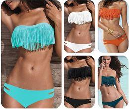 Wholesale Wholesale Bikinis Swimwear Fringe - Free shipping by dhl or fedex Sexy Tassel Swimwear Women Padded Boho Fringe Bandeau Bikini Set New Swimsuit Lady Bathing suit