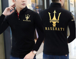 Wholesale Classic Polo Shirts For Men - long sleeve 2018 new Maserati Crown Polo Shirts Golf Slim Comfortable Designer Formal Polo Shirts with Cotton Blend for Men ,Size M-5XL,free