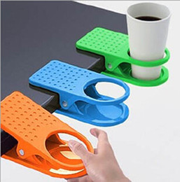 Wholesale Candy Clips - 1pcs New Style Home Office Drink Plastic Cup Coffee Holder Clip Desk Table Candy Colors Free Shipping