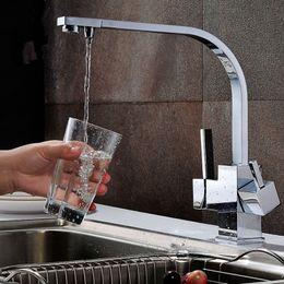Wholesale Square Sink Faucet - Hot Sale Promotion UK   Australian   Square Style Kitchen Sink Mixer Faucet 3 way Water Filter Tap