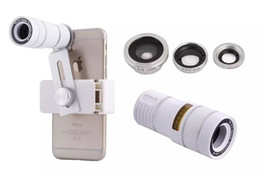 Wholesale Fisheye Lens Photos - Universal 4In1 9X Telephoto Telescope lens Clamp Clip 180 Degrees Fisheye +0.67XWide Angle +10X Macro Photo Zoom Lens Kit in retail box
