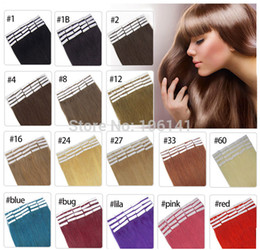 "Wholesale Taped Skin Weft Hair Extensions - 19 Colors 16"" 18"" 20"" 22"" 24"" Brazilian Hair Skin Weft Remy Double Sided Tape In On Human Hair Extensions 20pcs lot"