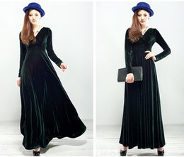 Wholesale Long Skirts Tall - In the spring and autumn winter new large size ladies pleuche dress long-sleeved posed long skirt of tall waist party evening dress dress