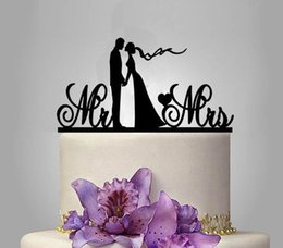 Wholesale Wedding Topper Silhouette - Cake Toppers Silhouette Bride and Groom Mr & Mrs Wedding Acrylic Cake Topper Anniversary LOVE Cake Topper Bride Groom Wedding Decoration